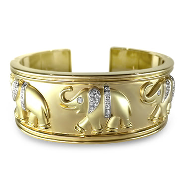 18k Gold Diamond Elephant Bangle Heavy & Unique