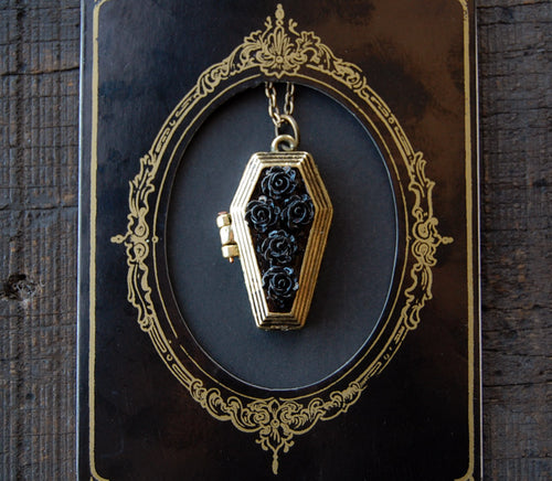 Floral Coffin Locket Necklace