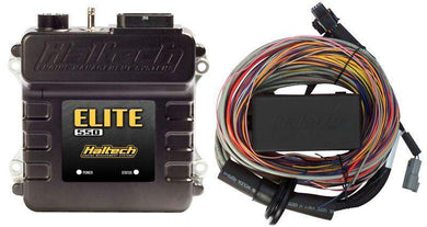 HALTECH ELITE 550 ECU + 5.0M (16FT) PREMIUM UNIVERSAL WIRE‐IN HARNESS KIT - KW Dealer