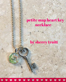 Petite Heart Key Map Necklace
