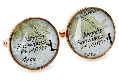 Aspen Cufflinks Vintage Maps Golden Bronze
