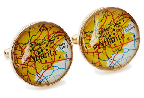 Atlanta Map Cufflinks  Golden Bronze