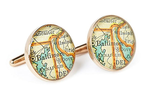 Baltimore Cufflinks Vintage Maps Golden Bronze