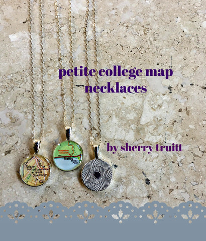 College Map Necklace Petite Sterling Silver Chain