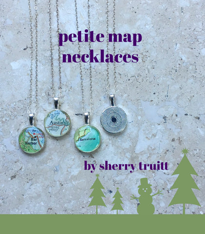 Map Necklace Petite Personalized with your City Sterling Silver Chain