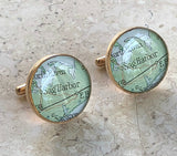 Sag Harbor Cufflinks Vintage Maps Golden Bronze Long Island