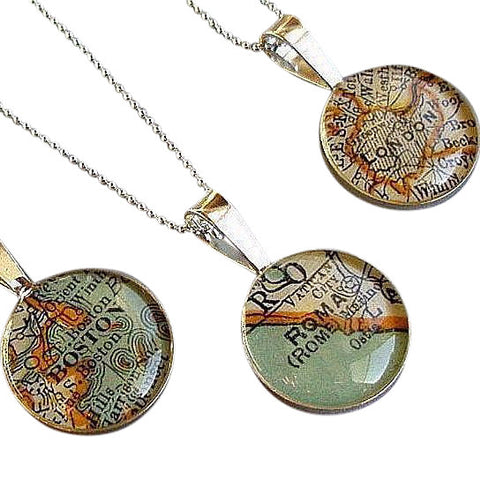 Traveler Map Necklace 16mm Custom City