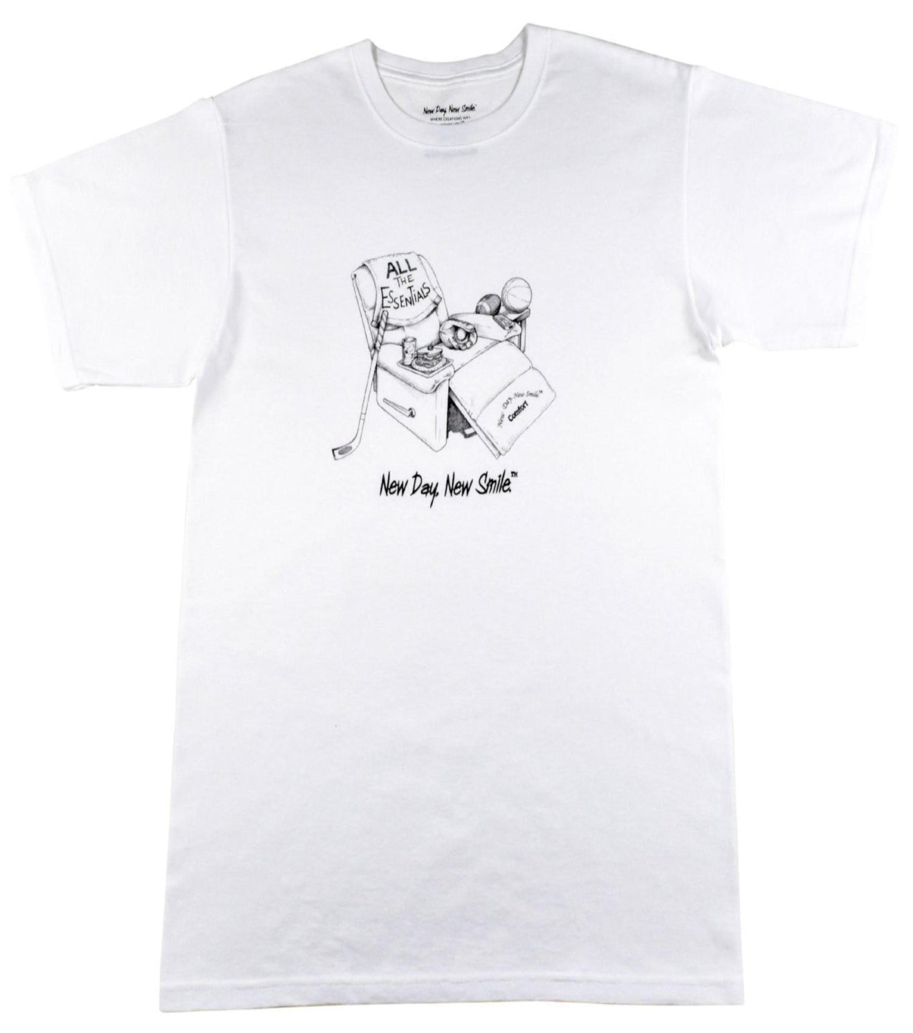 New Day New Smile Men's Sports Fanatic White T-Shirt | available at NewDayNewSmile.com