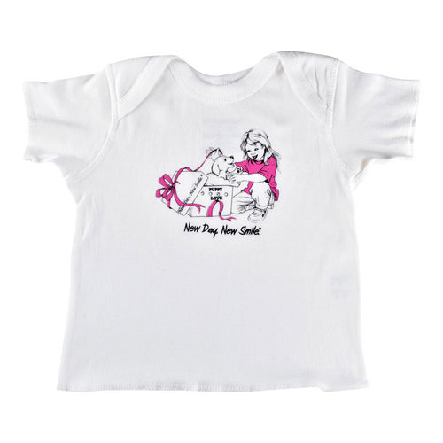 New Day New Smile baby's t-shirt with a puppy in a gift box surprises little girl for her birthday available at NewDayNewSmile.com
