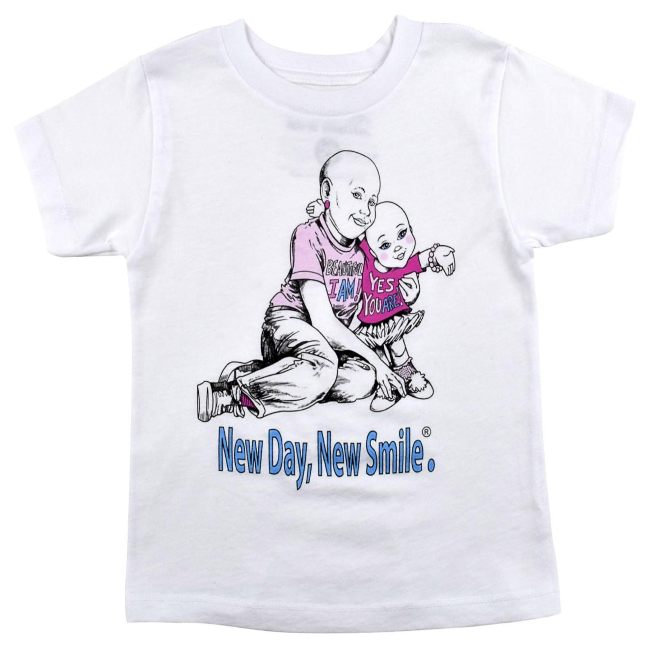Girls, Boys, Children's Inspirational Cancer T-Shirt | New Day, New Smile.® Collection