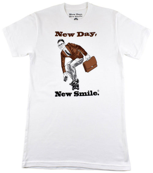 New Day New Smile Men's Businessman On Skateboard T-Shirt available at NewDayNewSmile.come Sofa Holding The Family Photo Men's Tee | available at NewDayNewSmile.com|