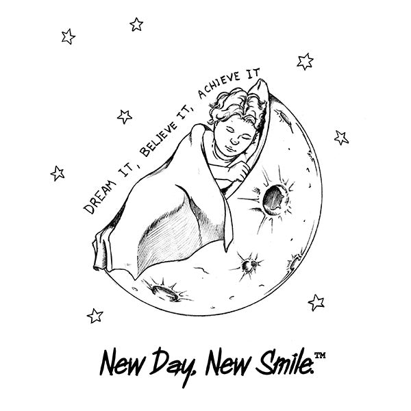 New Day New Smile Dream It Believe It Achieve It with Child Sleeping on the Moon Wrapped in a Blanket Kid's T-Shirt available at NewDayNewSmile.com