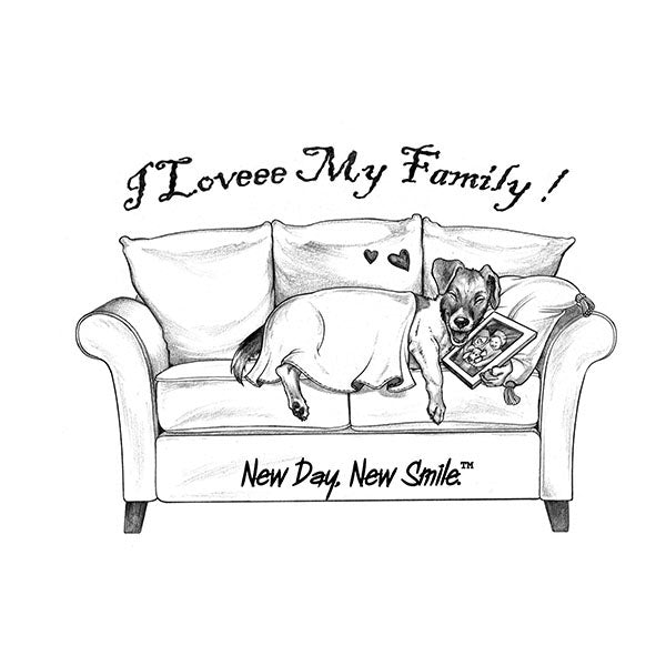 New Day New Smile Jack Russell Sleeping On The Sofa Holding The Family Photo Men's Tee | available at NewDayNewSmile.com