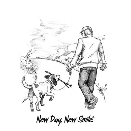 Man And Dog Walking In The Park Together T-Shirt | available at NewDayNewSmile.com