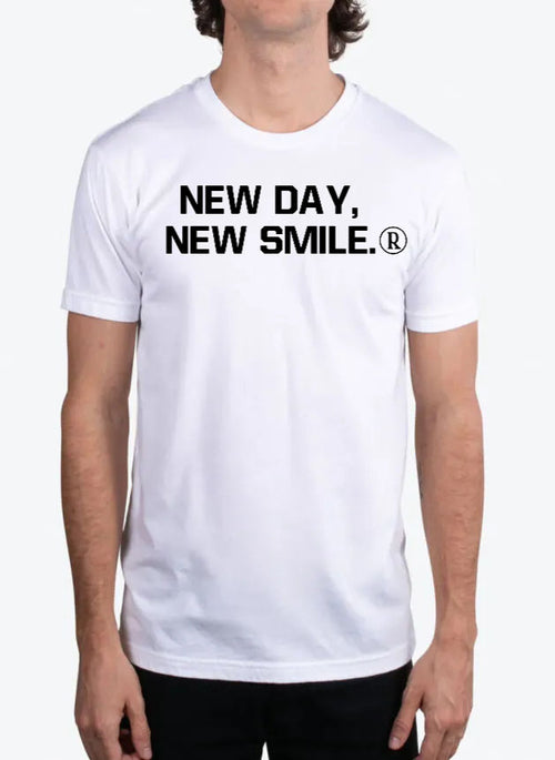 New Day New Smile Men's WHITE Tee available at NewDayNewSmile.com