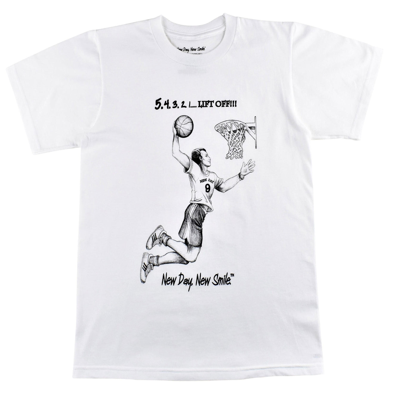 New Day New Smile Basketball player dunkin the ball t-shirt available at NewDayNewSmile.com