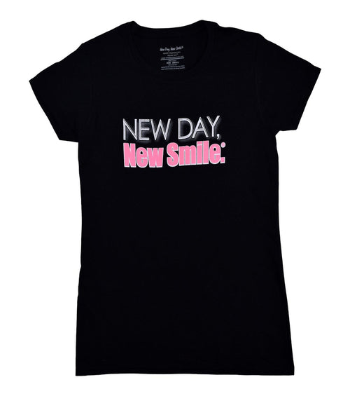 New Day, New Smile.® Women's Black Tee available at NewDayNewSmile.com