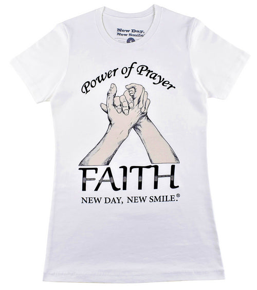 New Day New Smile Power Of Prayer - Faith Inspirational Women's T-Shirt available at NewDayNewSmile.com