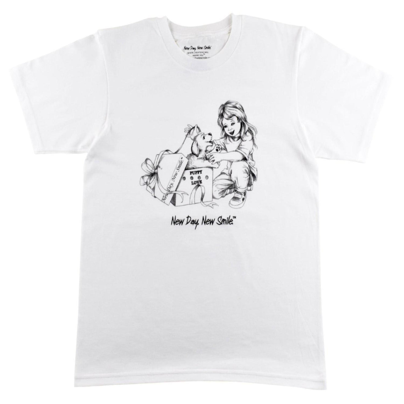 Little Girl Surprise with Puppy in a Box T-Shirt | New Day, New Smile.® Collection
