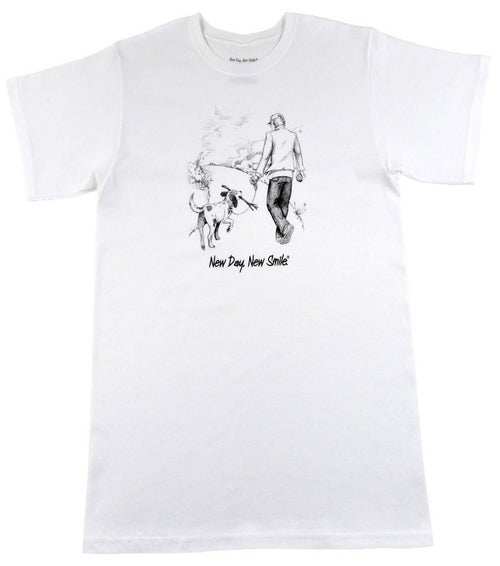 New Day New Smile Man And Dog Walking In The Park Together T-Shirt | available at NewDayNewSmile.com