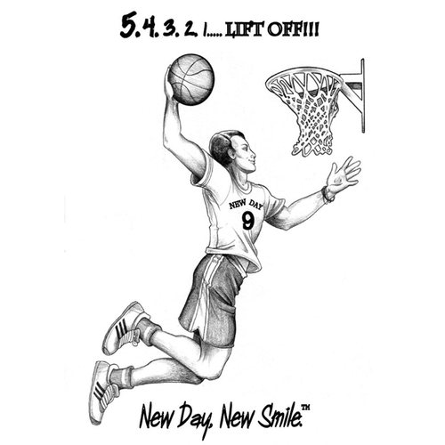 Basketball player dunkin the ball tee. | New Day, New Smile.® Collection