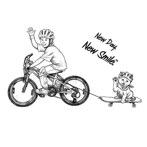Boy on bicycle pulling dog on skateboard white tee. | New Day, New Smile.® Collection