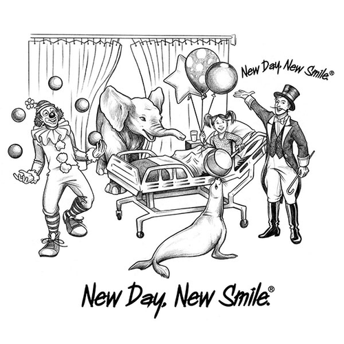 New Day New Smile Circus in Hospital Room with Little Girl Smiling T-Shirt available at NewDayNewSmile.com