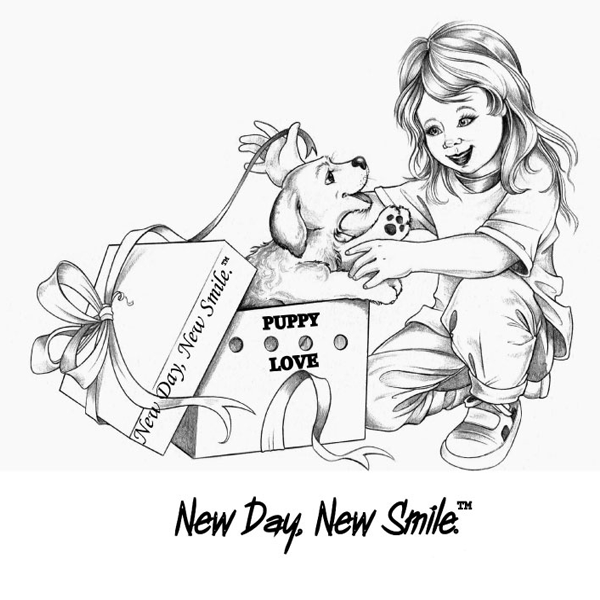 New Day New Smile Little Girl Surprise with a Puppy in a Gift Box T-Shirt available at NewDayNewSmile.com