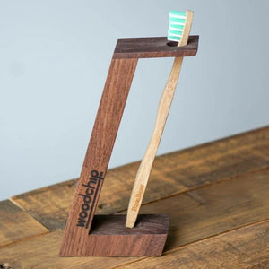 Handmade Walnut Toothbrush Holder (BamBear X Woodchip)