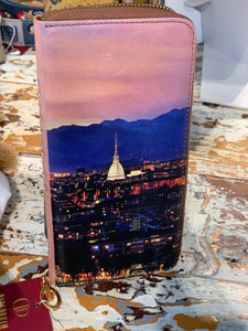 wallet Torino in real leather with Italian pictures handmade in Italy