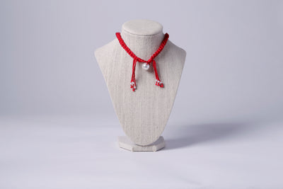 FABRIC NECKLACE, RED