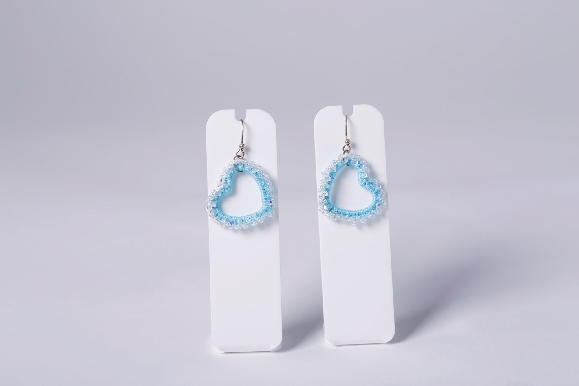 SMALL CROCHET EARRING, BLUE