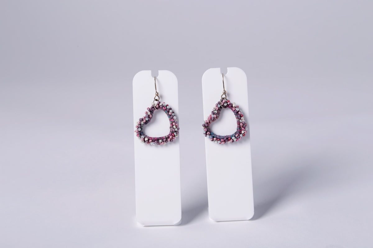 SMALL CROCHET EARRING, WINE