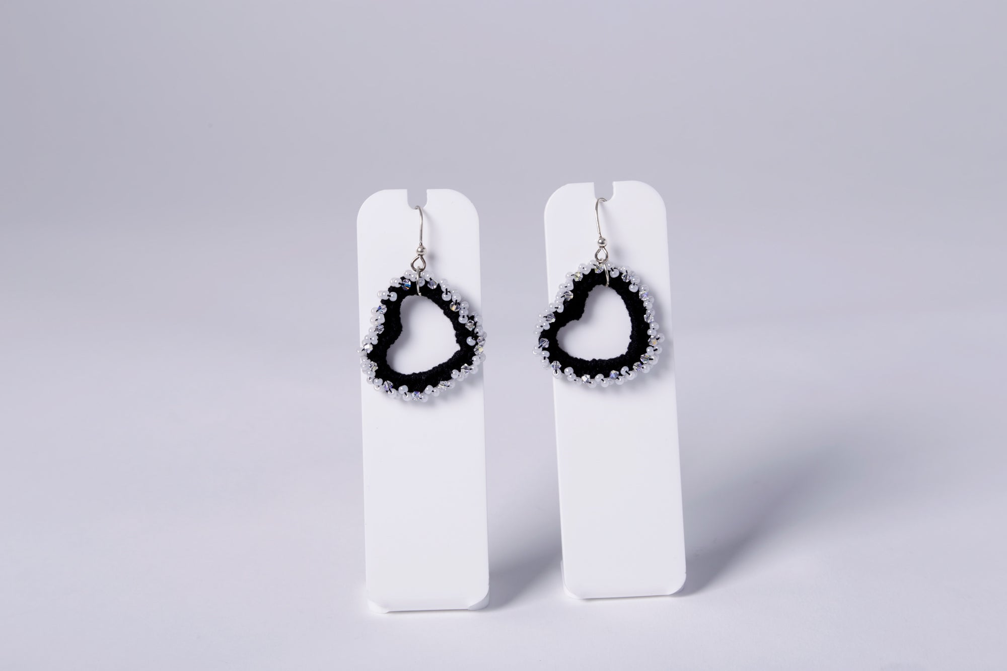 SMALL CROCHET EARRING, BLACKISH