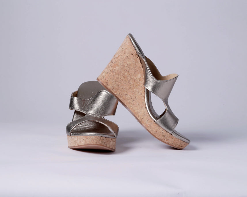 Wedge sandals, gold leather and cork