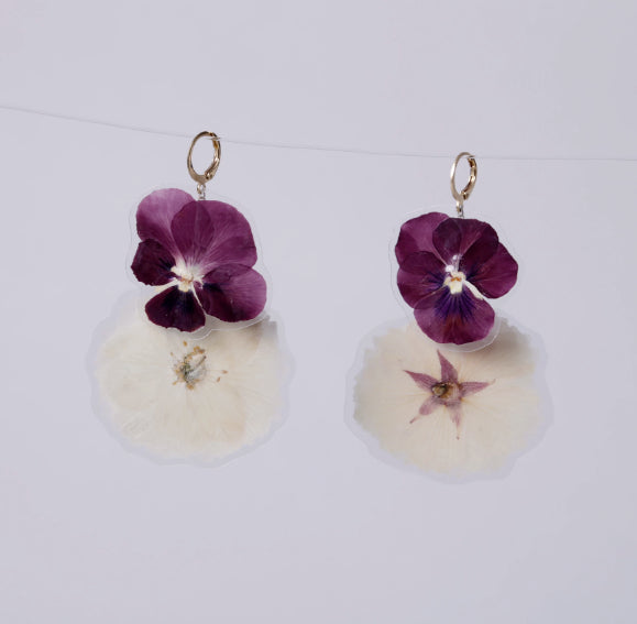GLORIA EARRINGS, Purple-White