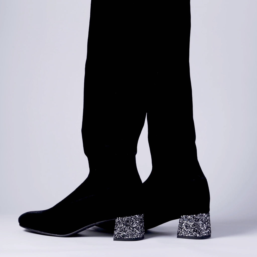 Knee high boot, glitter heel