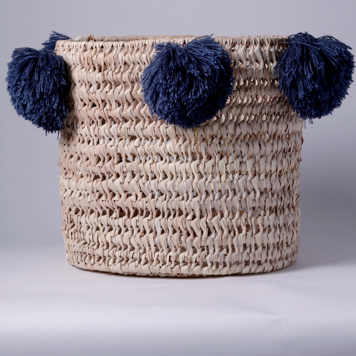 STRAW LAUNDRY BASKET, BLUE POM POM