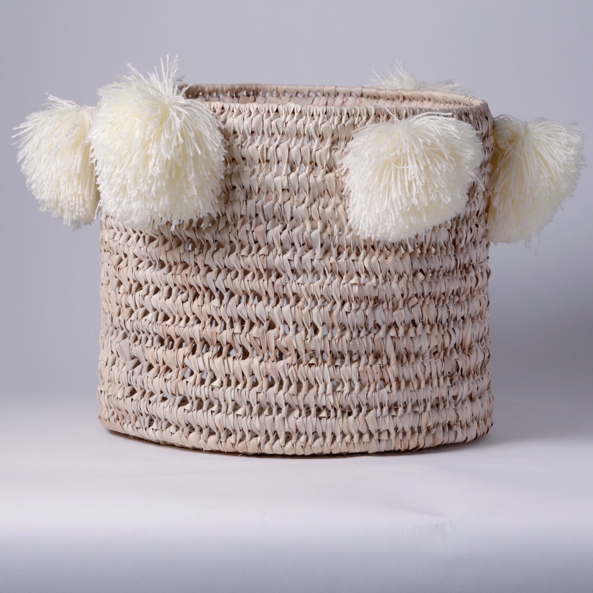 STRAW LAUNDRY BASKET, WHITE POM POM