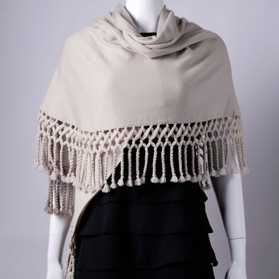 PONCHO SHAWL, CAPRI BROWN