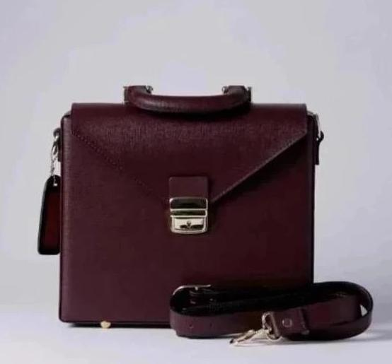 Elegant Briefcase BIG, BURGUNDY, Genuine leather with locks