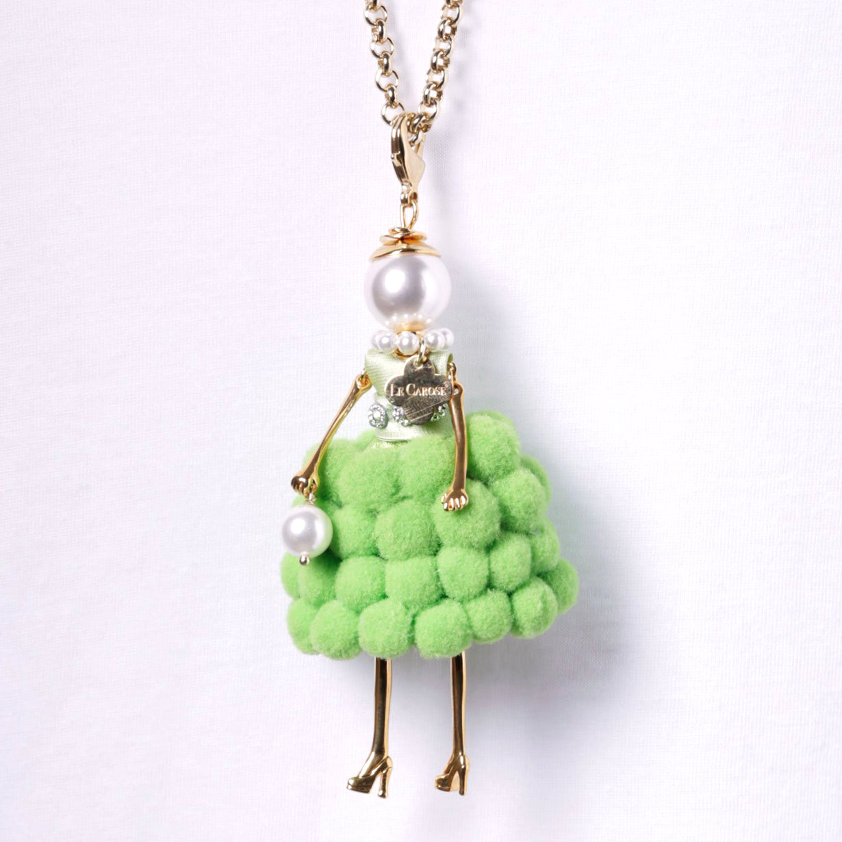 LE CAROSE NECKLACE, POM POM GREEN