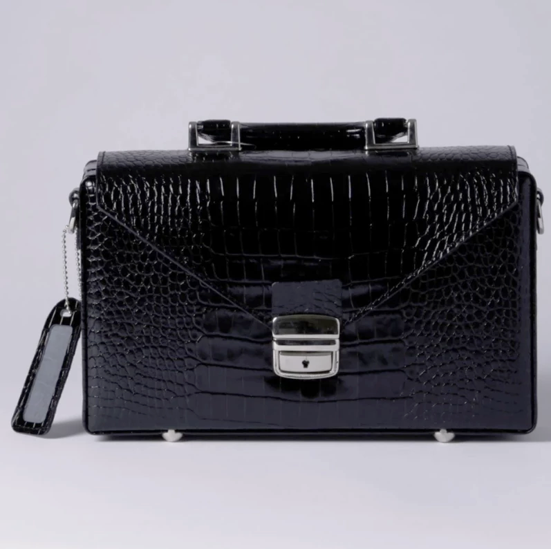 Elegant Briefcase BLACK , PRINTED CROCODILE,  Genuine leather