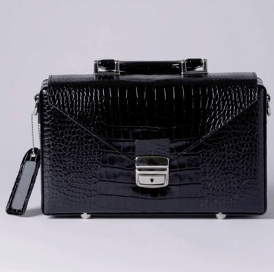 Briefcase elegant crocodile style leather
