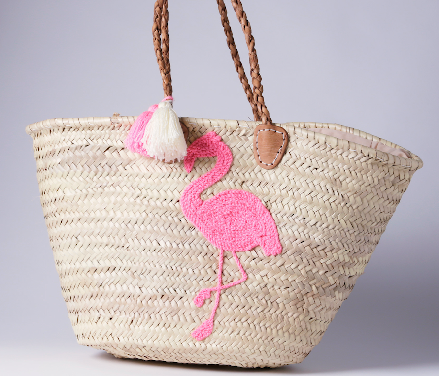 "Straw bag ""FLAMINGO"""