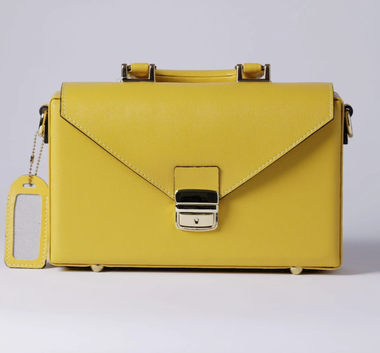 Elegant Briefcase YELLOW, Genuine  leather with locks