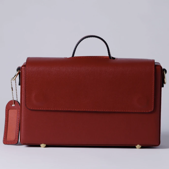 Classic Briefcase RED , Genuine Leather with locks