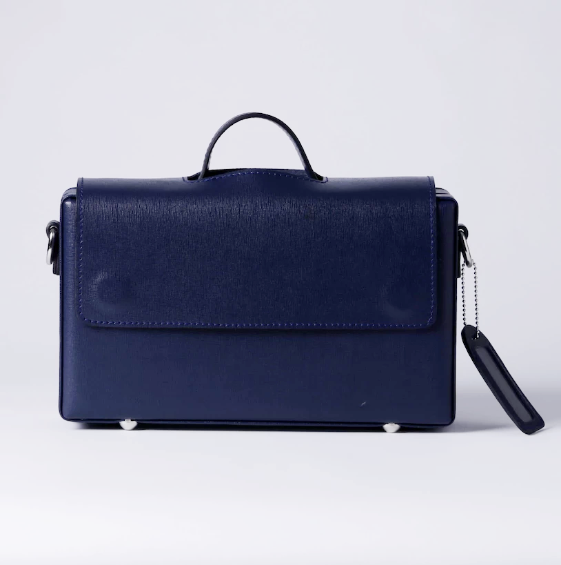 Classic Briefcase BLUE, Genuine Leather with locks,