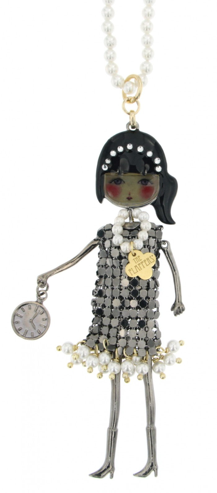 Le Carose pearl necklace with doll flappers