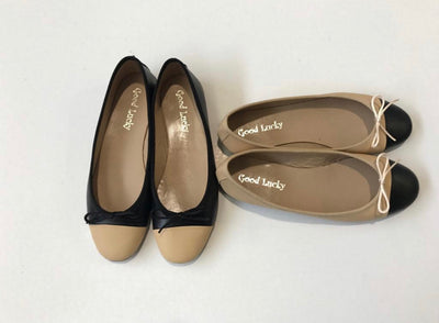 Shoes dance black and beige leather good lucky